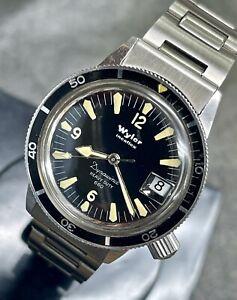 Serviced vintage Wyler 1960s dive watch Dynawind Heavy Duty 660 bracelet +Tropic
