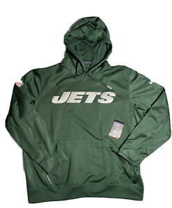 Men's Nike New York Jets Sideline Therma-Fit Pullover Green Hoodie Size XL
