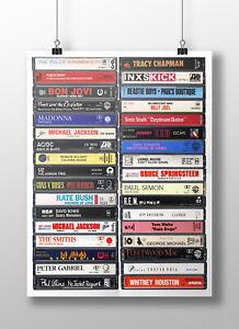 80's Music Poster: Original Cassette Print, 1980s Music Fan, Gift, Art