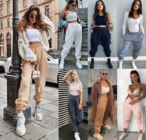 Womens Ladies Fleece Oversized Jogging Joggers Cuffed Bottoms Jog Trouser Pants