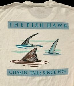 The Fish Hawk Atlanta GA fishing Shop White T Shirt  Sz. M
