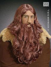 HOMBRE LARGO vikingo Guerrero Medieval LARP enanito Peluca y Barba Disfraz NUEVO
