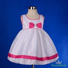 Cream Hot Pink Satin Scoop Formal Dress Wedding Flower Girl Party Size 1 FG210