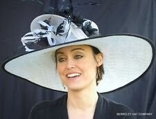 NEW Womens Kentucky Derby Hat Extra Wide Brim Sinamay Straw Feathers Black White