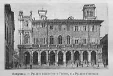 1891= BERGAMO.PALAZZO ISTITUTO TECNICO =LOMBARDIA.Xilo+Passepartout.Etna.Premoli