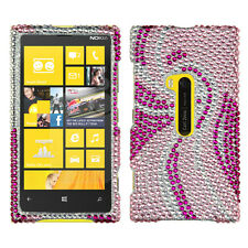 For Nokia Lumia 920 Crystal Diamond BLING Hard Case Phone Cover Pink Tail