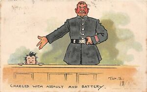 POSTCARD COMIC TOM BROWNE - COURT SCENES - CHARGED WITH ASSAULT & BATTERY