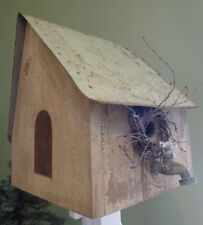 Folk Art Wood & Metal Birdhouse Sue Baillargeon Weede Shoppe 80's~ FREE SHIPPING