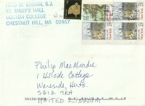 USA cover sent from Chestnut Hill MA to Wareside Herts England