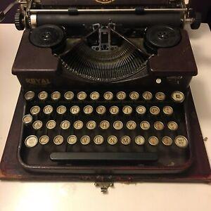 Antique Royal Portable Typewriter In Alligator Red