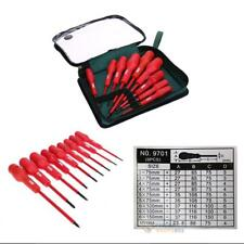 9 in 1 Electricians Grade Insulated Screwdriver Kit Magnetic Head Set Tools+Bag