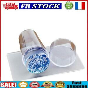 Nail Art Stamp Template Transparent Silicone Seal Stamper Head w/Scraper