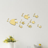 1PC 3D Acrylic Mirror Sea Fish Bubble Wall Sticker Home Decal Room Decor NE8Z