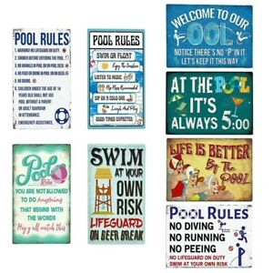 Swimming Pool Rule Sign Vintage Metal Tin Signs Pool Rules Indoor/Outdoor Decor