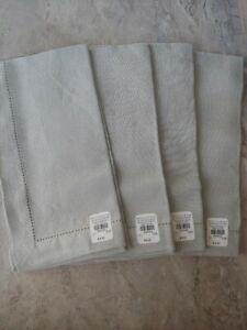 pottery barn belgian flax classic napkin set of 4 new original $36 smoke gray