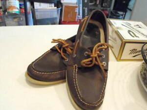 Classic Men's SPERRY TOP SIDER Dark Brown Calfskin Boat Shoes 9.5M