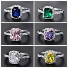 925 Silver New Emerald Sapphire Zircon Engagement Ring Women Christmas Jewelry