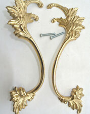 """2 polished french style pulls handles pair heavy brass vintage style doors 8"""""""