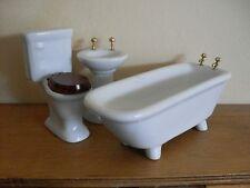 Dollshouse Miniature ~ WHITE ~ Bathroom Set