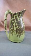 ANTIQUE YELLOW SPONGEWARE PITCHER 7 1/2 INCH ~ stoneware pottery
