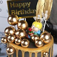 10pcs Lovely Silver Gold Ball Cake Topper Birthday Wedding Party Cake Decoration