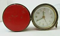 Kohler Round Travel ALARM CLOCK 7 Jewels Germany US Zone Red Case Automatic