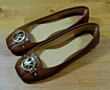 Michael Kors Women's Fulton Moccasin Brown Leather Ballet Flats Gold Logo 7 M