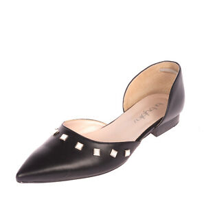 RRP €115 BYBLOS D'Orsay Flat Shoes Size 41 UK 8 US 11 Studded Made in Italy
