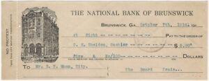 1914 Brunswick Georgia National Bank of Brunswick Typed Money Order