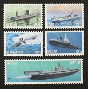 #3373-77 Navy Submarine A set of 5 single stamps from booklet pane  MNH OG