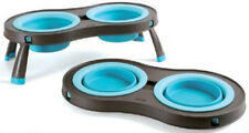Dexas Popware Collapsible Silicone Travel Double Twin Dog Bowl Pet Feeder- Large