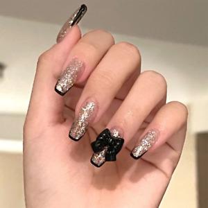 Full Gold Glitter Fake Nails with Bows French Black Tips Hot Girl False Nails