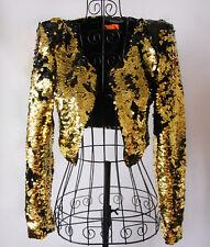 Womens Gold Sequins Shoulder Pads Jackets Nightclub DJ Singer Coats Costume 2018