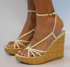 NEW GUESS Womens Cream Platform Wedges Heels Strappy Sandals Ankle Strap Size 7