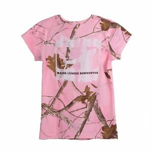 Womens Major League Bowhunter Paint Roller Fitted T-Shirt Realtree Pink Camo L