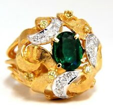 2.08ct Natural Oval Emerald diamond ring 14kt Florentine Dome
