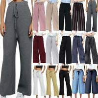 Women Elastic Waist Wide Leg Pants Drawstring Casual Baggy Palazzo Long Trousers