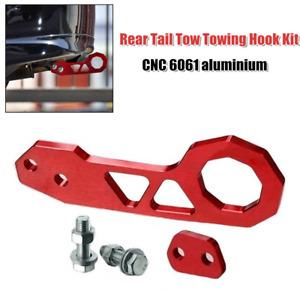 1PCS Car SUV Universal Billet Red Aluminum Racing Rear Tail Tow Towing Hook Kit
