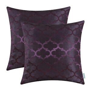 2Pcs Deep Purple Cushion Covers Pillow Shells Cases Geometric Home Decor 45x45cm