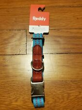 REDDY Small Cerulean Blue with Red Highlights and Silver Metal buckle Dog Collar