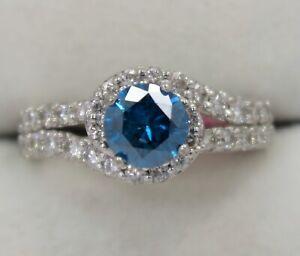 14K White Gold ~ 0.89 Ct. BLUE DIAMOND Center w/ 0.78 Ct. White Engagement Ring