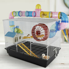 Hamster Cage 2 Story Loft Play Center Tube Spinning Wheel Feeder Ladder
