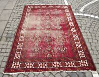 Antique Authentic Large Living Room Carpet 4x7ft Handwoven Wool Red Oriental Rug