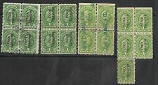 US Revenue #RD54 –1940 $1 Stock Transfer Stamp green engraved, 4 Blocks of 4 & 5