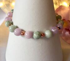 Handmade Genuine Gemstone Jewellery, Jadeite & Kunzite Sterling Silver Bracelet.