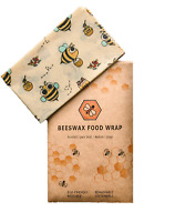 Beeswax Eco Friendly Reusable Food Cling Wraps - Variety Pack 3 Sizes - Natural