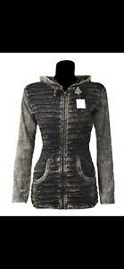 Grey cutting non acidic stonewashed Hoodie RazorCut Ladies Cotton unique jacket.