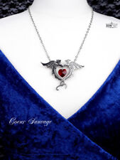 Ladies Gothic Necklace Swarovski Crystal elements Dragon ALCHEMY Silver Pendant