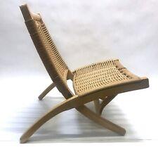 1960s Hans Wegner Style Folding Rope Lounge Chair Made in Yugoslavia