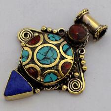 Turquoise Coral Lapis Brass Pendant Tibetan Nepalese Handmade Tibet Nepal UP1183